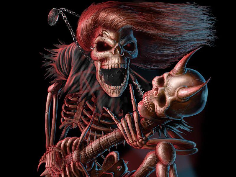 Fondos de Pantalla / Terror / Esqueleto Rock