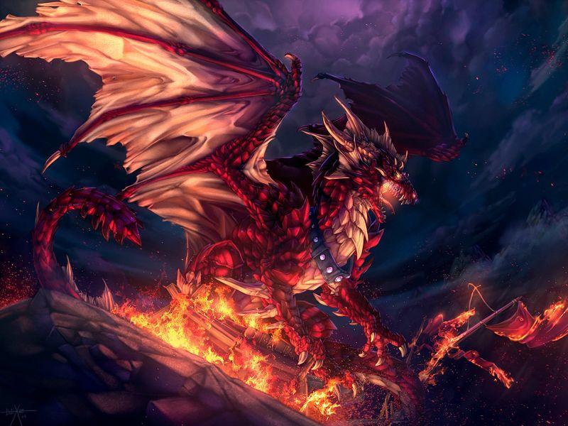Fondos de Pantalla / Dragones / Dragon en Llamas